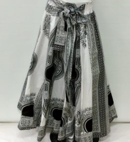 Black and White Print African Maxi Skirt