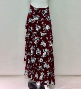 Junee Burgundy and Gray Layered Skirt